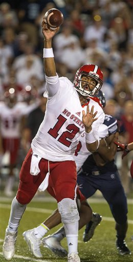 North Carolina State quarterback Jacoby Brissett throws a pass against Old Dominion during an NCAA college football game Saturday, Sept. 19, 2015, in Norfolk, Va. (Hyunsoo Leo Kim/The Virginian-Pilot via AP)